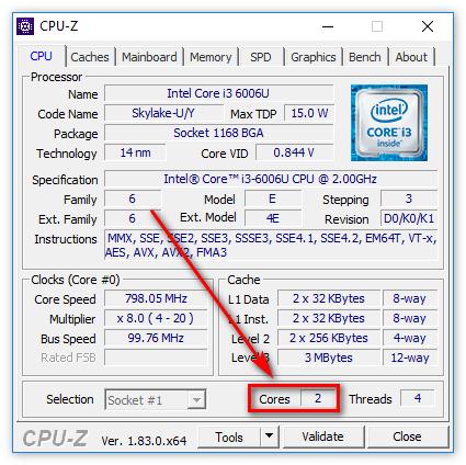 Число активных ядер процессора в CPU-Z