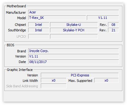Данные о МП в CPU-Z