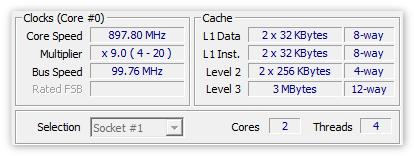 Данные о процессоре в CPU-Z