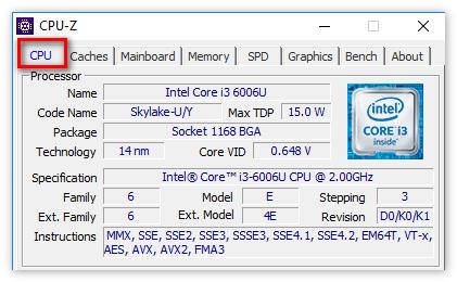 Данные о процессоре в ЦПУ-З