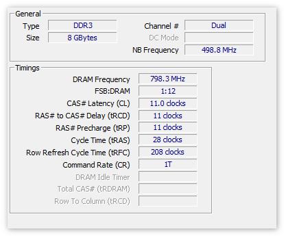 Данные об Оперативной памяти в CPU-Z