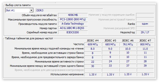 Данные SPD в CPU-Z