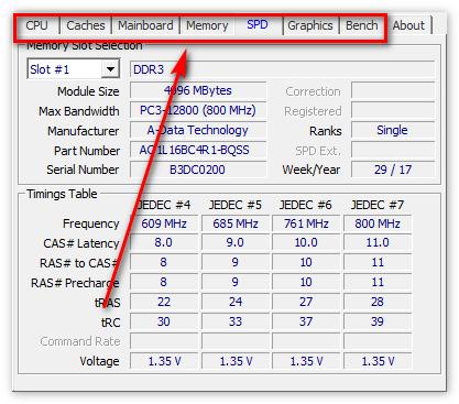 Характеристики ОС в CPU-Z