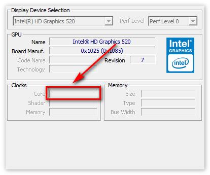 Информация о частоте ядра видеочипа в CPU-Z