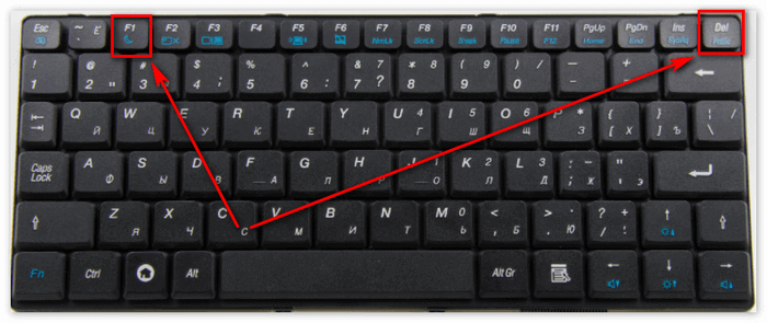 Клавиши F1 b DEL