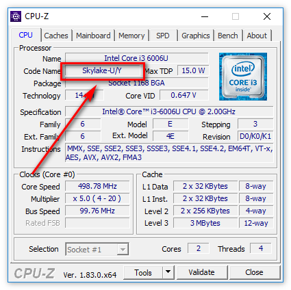 Код процессора в CPU-Z