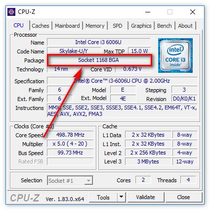 Корпусировка процессора в CPU-Z