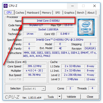 Наименование процессора в ЦПУ-З