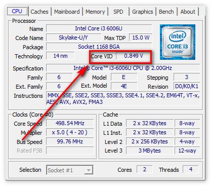 Напряжение процессора в ЦПУ-З
