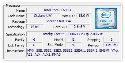 Основные данные процессора в ЦПУ-З