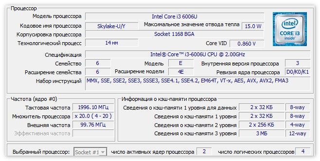Основные характеритики процессора в CPU-Z