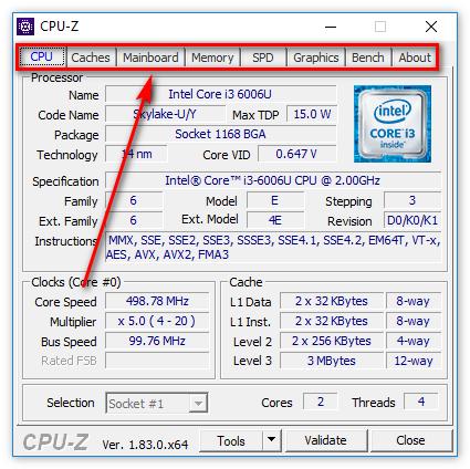Основные вкладки в CPU-Z