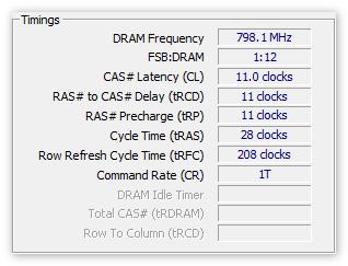 Тайминги ОЗУ в CPU-Z