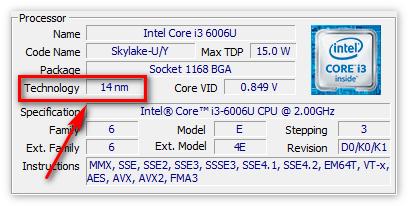 Технический процесс в CPU-Z