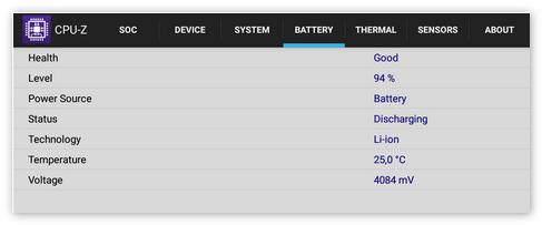 Вкладка батарея в CPU-Z