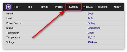 Вкладка батарея в ЦПУ-ЗЕТ