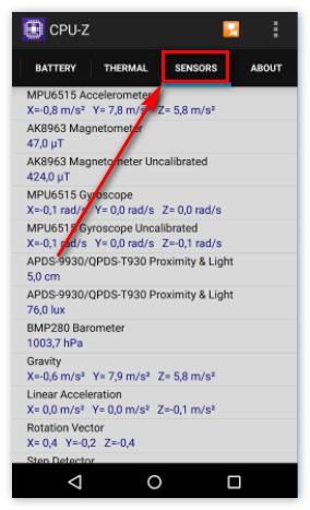 Вкладка Сенсоры в CPU-Z