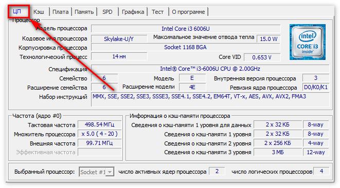 Вкладка ЦП в ЦПУ-З