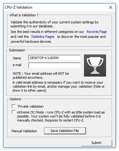 Валидация в CPU-Z
